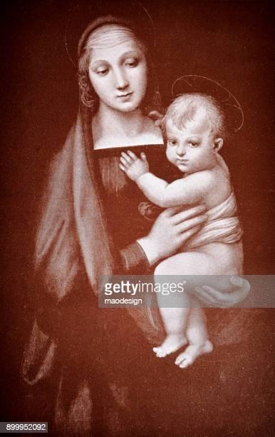 saint mary and child - 1896 - virgin mary stock illustrations, clip art, cartoons, & icons