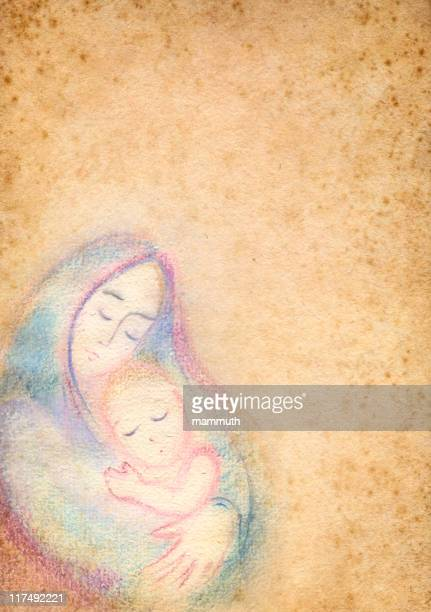 saint mary with the child jesus - blessed mother mary stock illustrations