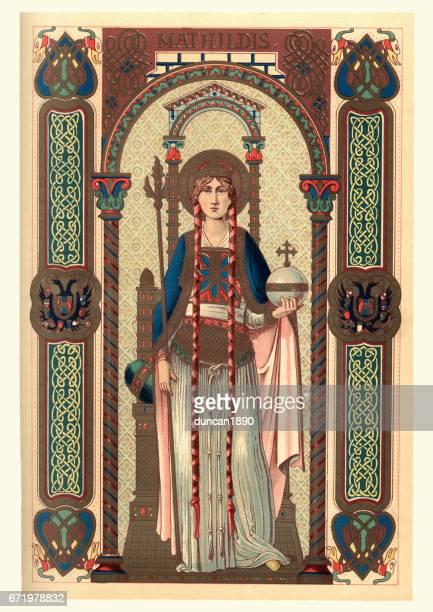ilustraciones, imágenes clip art, dibujos animados e iconos de stock de santa matilde de ringelheim - edad media