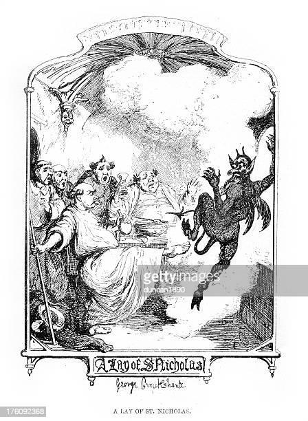 聖ニコラスと悪魔 - 聖職服点のイラスト素材/クリップアート素材/マンガ素材/アイコン素材