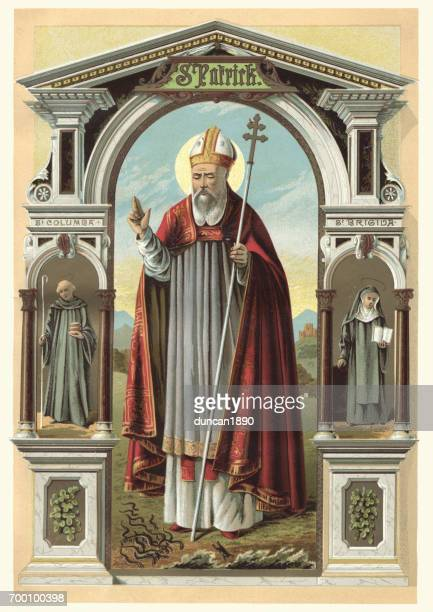 saint patrick - catholicism stock illustrations