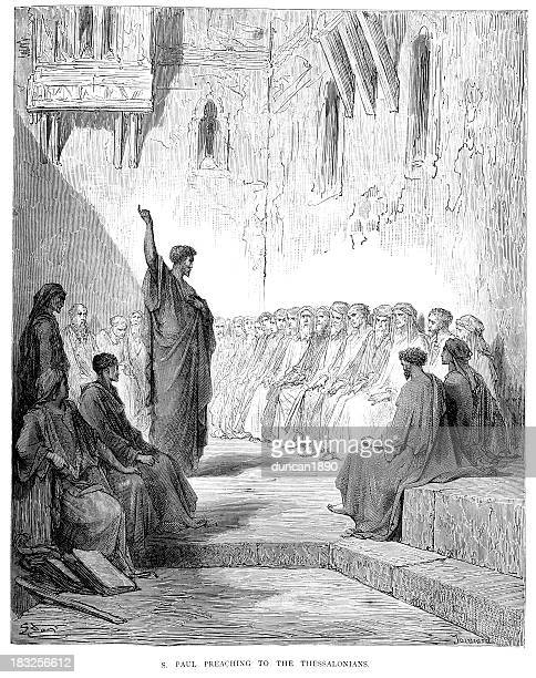 saint paul preaching to the thessalonians - paul the apostle stock illustrations