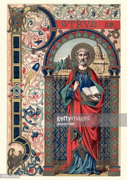 saint peter - bishop clergy stock illustrations, clip art, cartoons, & icons
