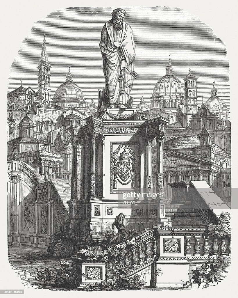 Saint Peter in Rome, published in 1878 : stock illustration