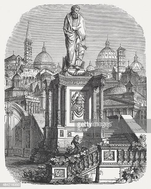 ilustrações de stock, clip art, desenhos animados e ícones de são pedro em roma, publicada em 1878 - st. peter's basilica the vatican