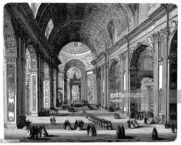 Saint Peter's Basilica interior, Rome, Italy