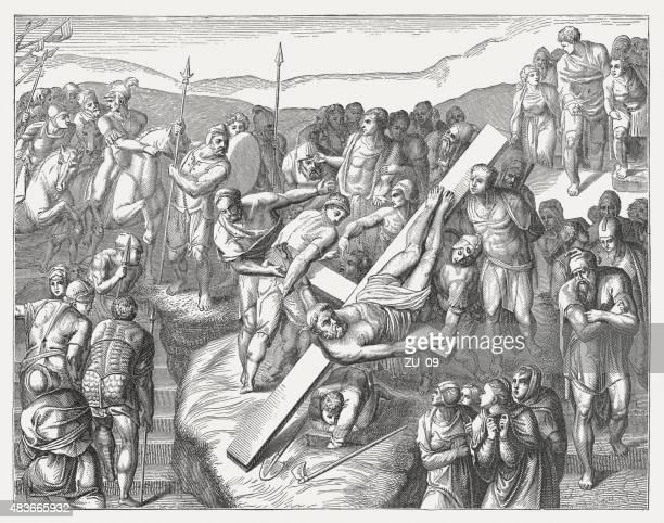 ilustrações de stock, clip art, desenhos animados e ícones de saint peters'crucifiction de michelangelo, publicada em 1878 - st. peter's basilica the vatican