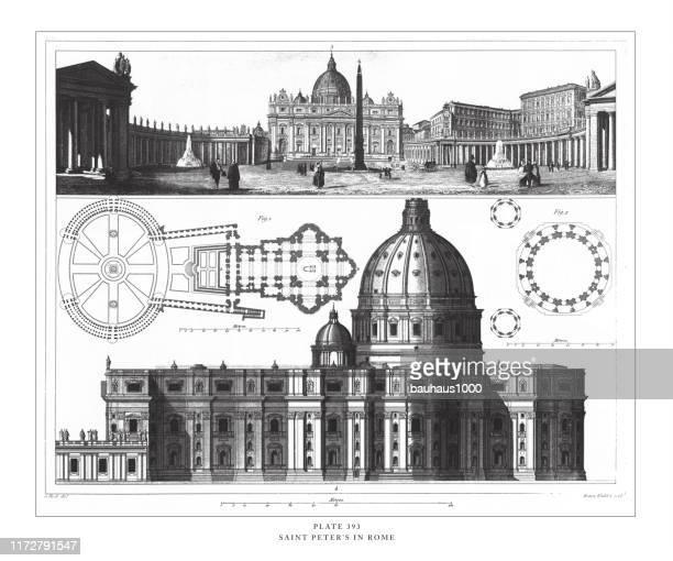 ilustrações de stock, clip art, desenhos animados e ícones de saint peter's in rome engraving antique illustration, published 1851 - st. peter's basilica the vatican