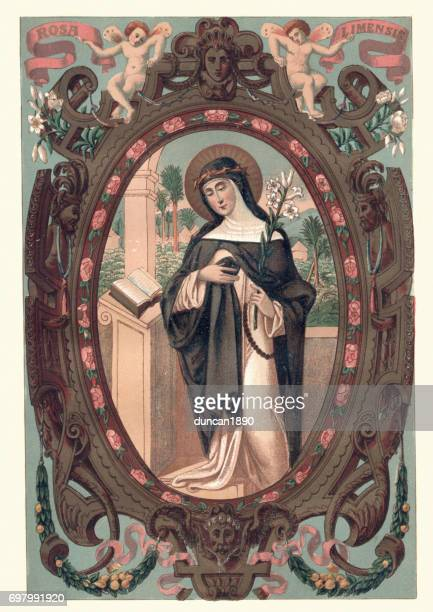 saint rose of lima - religious saint stock illustrations