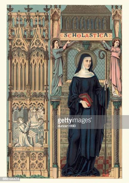 saint scholastica - nun stock illustrations