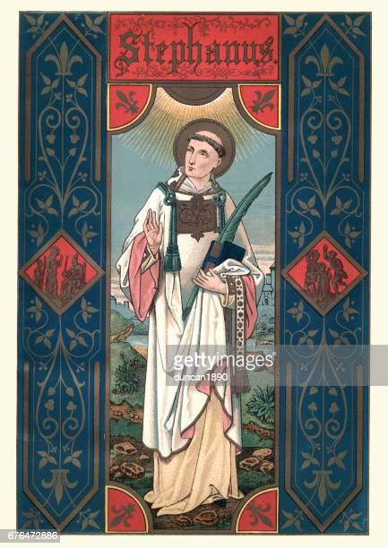 saint stephen - religious saint stock illustrations