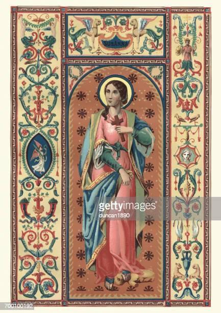 saint susanna - religious saint stock illustrations