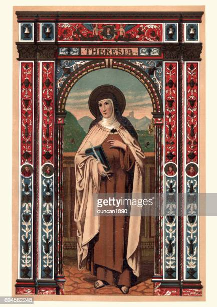 saint teresa of avila - religious saint stock illustrations