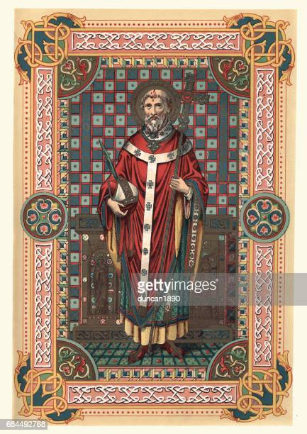 saint thomas becket of canterbury - bishop clergy stock illustrations, clip art, cartoons, & icons