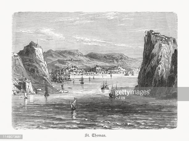saint thomas, u.s. virgin islands, wood engraving, published in 1897 - danish culture stock illustrations