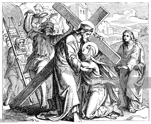 saint veronica wipes the face of jesus with cross on the way to golgotha - stations of the cross stock illustrations