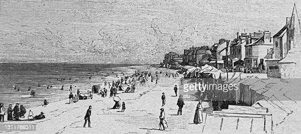 saint-aubin-sur-mer, beach life, france, normandy - normandy stock illustrations