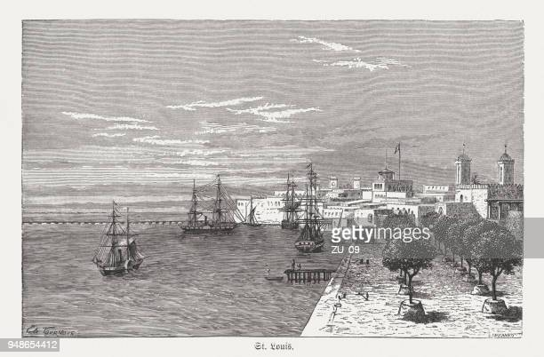 saint-louis, senegal, wood engraving, published in 1868 - senegal stock illustrations, clip art, cartoons, & icons