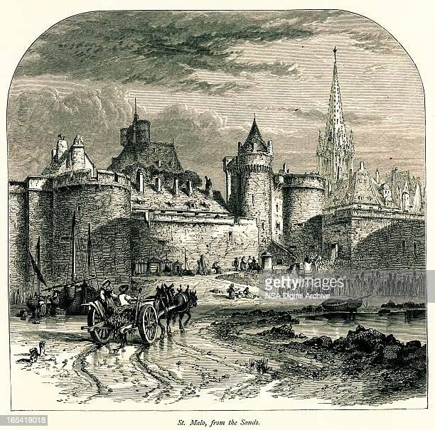 saint-malo, france i antique european illustrations - village stock illustrations