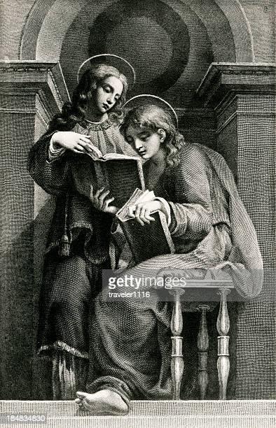 ilustraciones, imágenes clip art, dibujos animados e iconos de stock de saints lawrence y vincenzo - personas leyendo la biblia