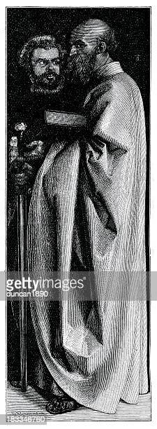 saints mark and paul - high renaissance stock illustrations