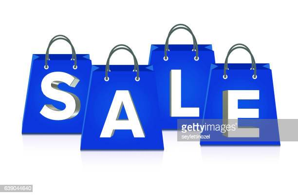 sale shopping bags - isolated - goodie bag stock illustrations, clip art, cartoons, & icons