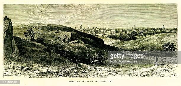 salem, massachusetts   historic american illustrations - village stock illustrations