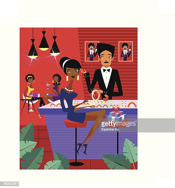 sales clerk showing jewelries to a woman in a jewelry store - updo stock illustrations, clip art, cartoons, & icons