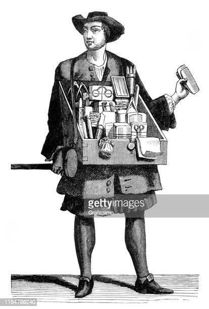 salesman on the road selling brush and eyeglasses 1680 - salesman stock illustrations