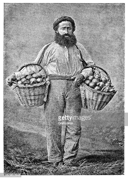 Salesman selling oranges in the streets of Buenos Aires Argentina 1887