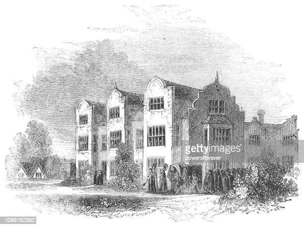 salford hall at the village of abbot's salford in warwickshire, england - ellis island stock illustrations, clip art, cartoons, & icons