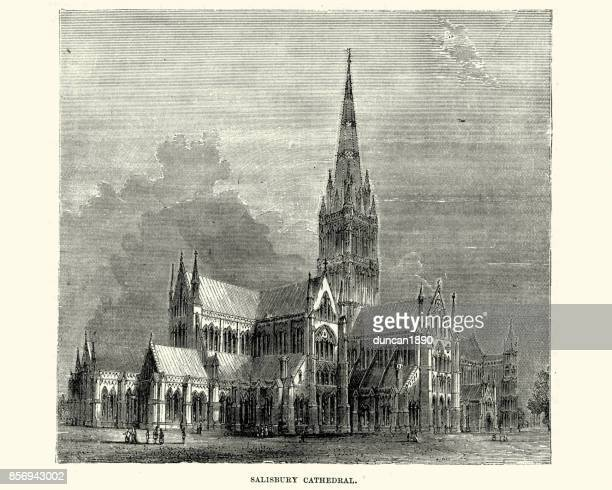 salisbury cathedral, 19th century - spire stock illustrations, clip art, cartoons, & icons