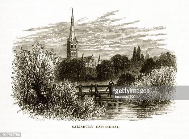 salisbury cathedral, salisbury, england victorian engraving - steeple stock illustrations, clip art, cartoons, & icons