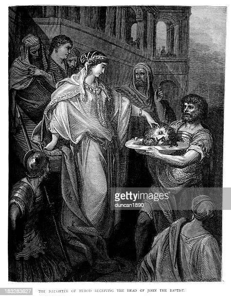 salome and john the baptist - salome stock illustrations