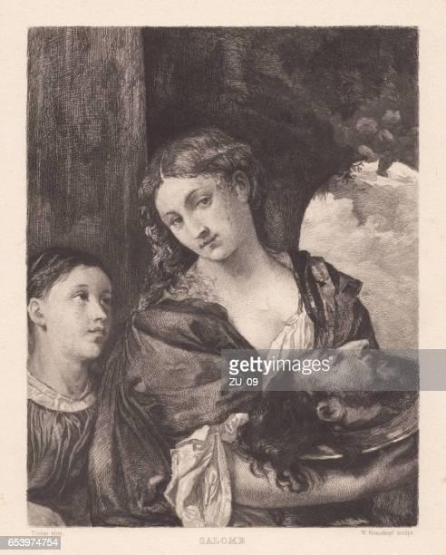 salome, painted (c.1515) by titian, doria pamphilj gallery, rome, italy - tiziano vecellio stock illustrations, clip art, cartoons, & icons
