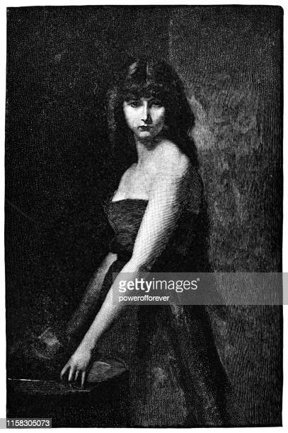 salome with the head of john the baptist by jean-jacques henner - 19th century - salome stock illustrations