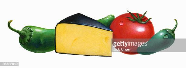 salsa con queso ingredients - four objects stock illustrations