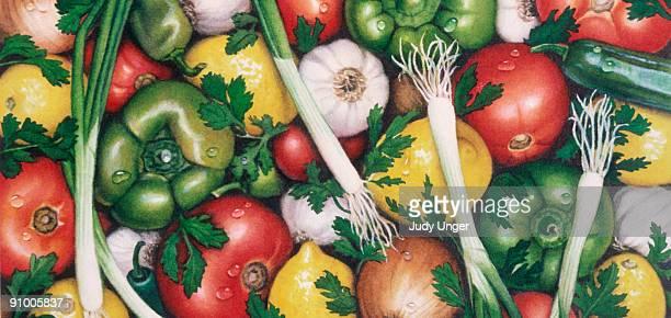 salsa vegetable medley - freshness stock illustrations