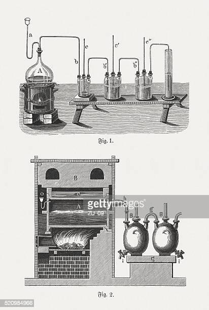 Salt acid (Hydrochloric acid), wood engravings, published in 1880