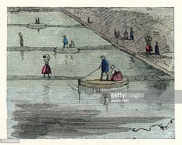 ilustraciones, imágenes clip art, dibujos animados e iconos de stock de sal estanques de evaporación - salina estado natural de terreno