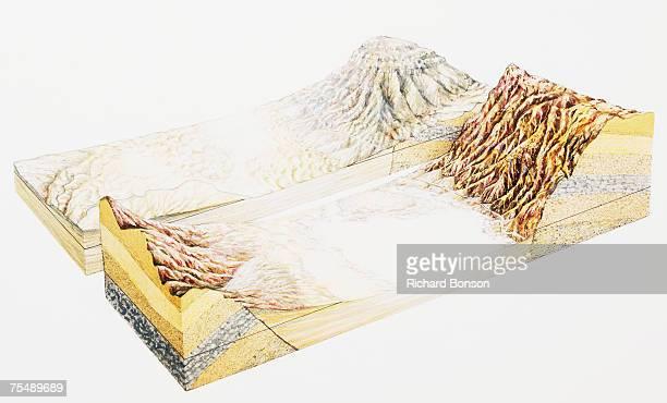 ilustraciones, imágenes clip art, dibujos animados e iconos de stock de salt flats in desert, cross-section - salina estado natural de terreno