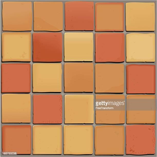 saltillo tiles pattern background - pottery stock illustrations, clip art, cartoons, & icons