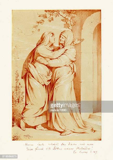 salutation of mary and elizabeth - virgin mary stock illustrations, clip art, cartoons, & icons