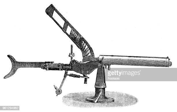 salvator-dormus m1893 machine gun - machine gun stock illustrations, clip art, cartoons, & icons