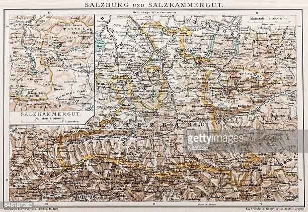 salzburg and lake district - bodensee karte stock-grafiken, -clipart, -cartoons und -symbole