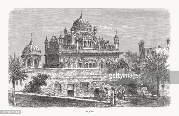 ランジット・シンのサマディ、ラホール、パキスタン、木彫り、1893年出版 - パキスタン ラホール市点のイラスト素材/クリップアート素材/マンガ素材/アイコン素材
