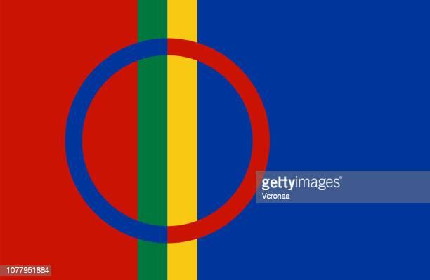 sami flag - northern norway stock illustrations