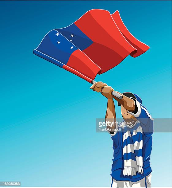 samoa waving flag soccer fan - rugby shirt stock illustrations, clip art, cartoons, & icons