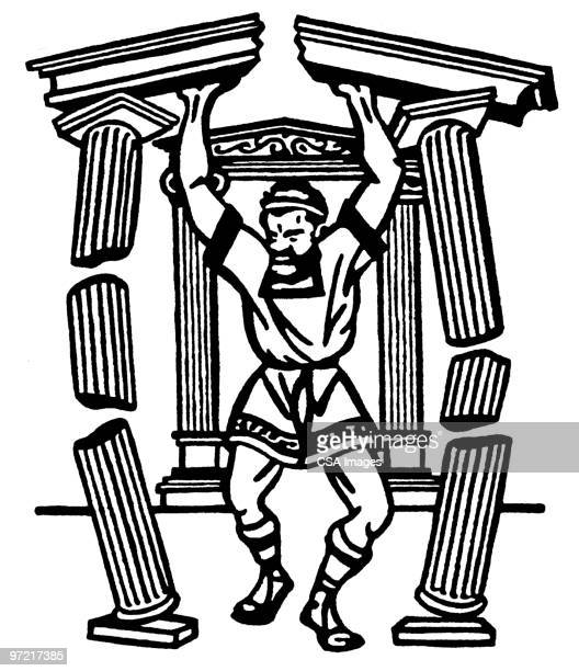 samson - greek culture stock illustrations