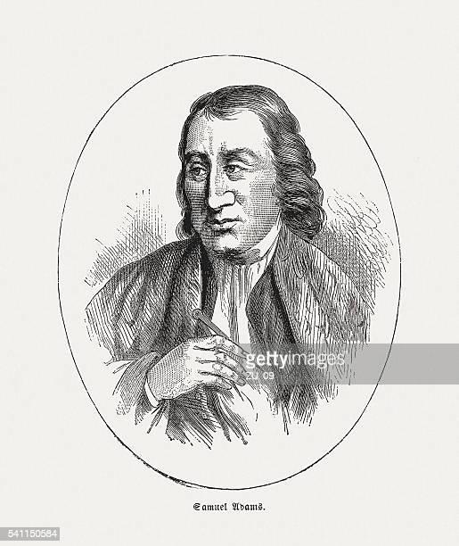 ilustrações, clipart, desenhos animados e ícones de samuel adams (1722-1803), estadista americano, entalhes de madeira, publicado em 1884 - american revolution